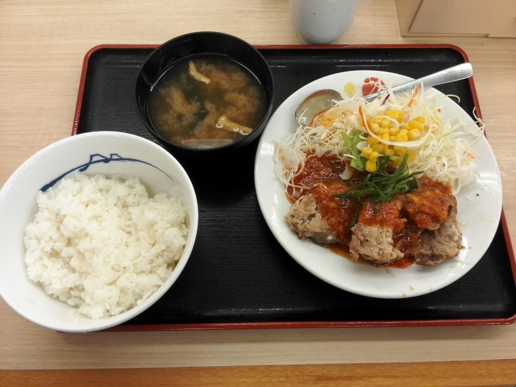 松屋 鶏のチリソース定食