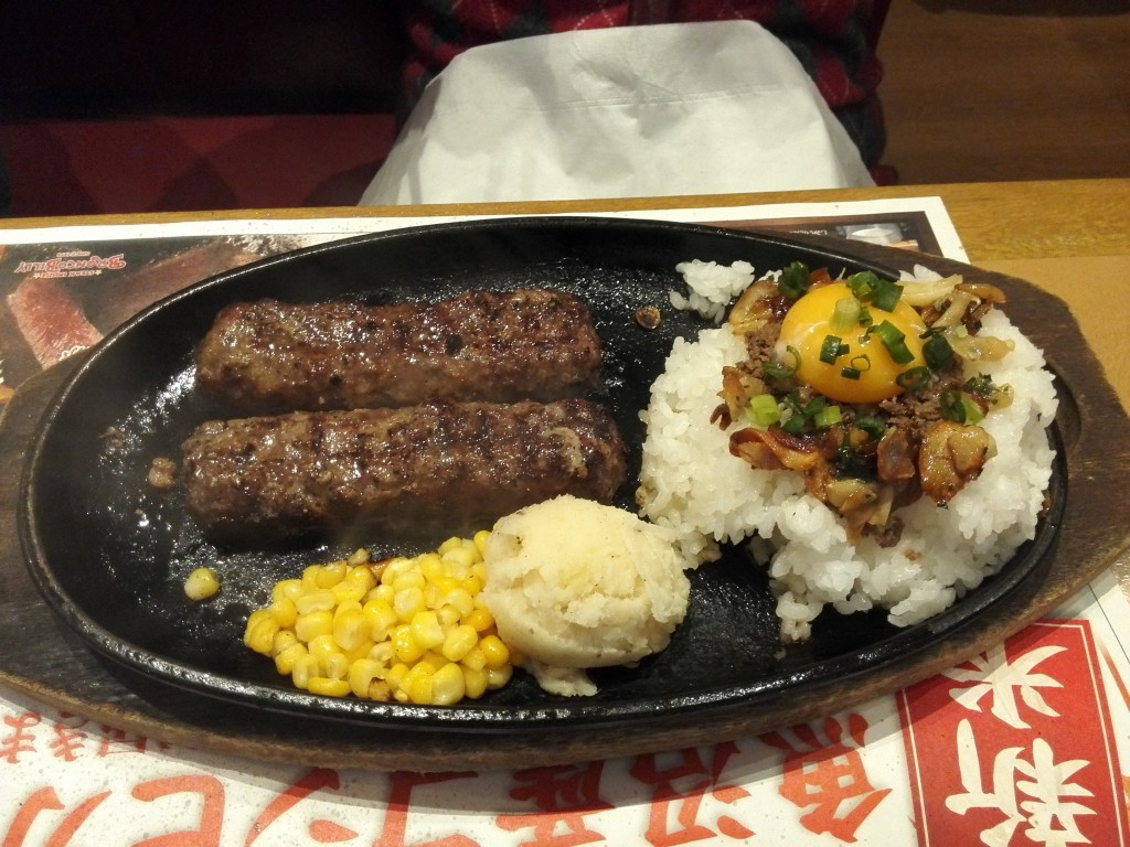 ブロンコビリー 炭焼ジューシーがんこハンバーグとガーリックビーフライスコンビランチ