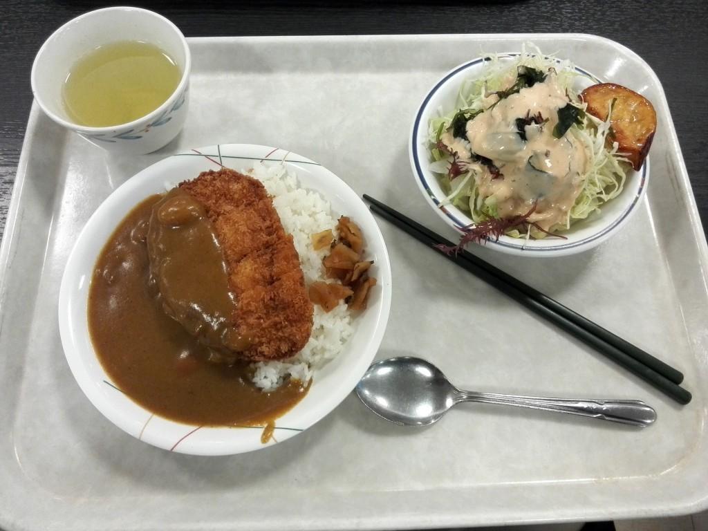 東大 駒場キャンパス 学食 カツカレー+サラダ