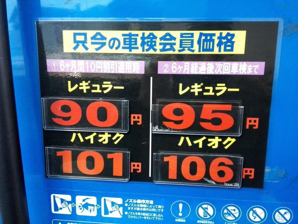 近所のガソリンスタンド ガソリン価格