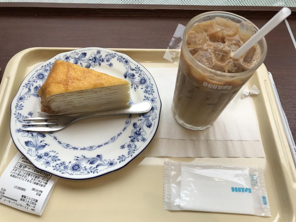 ドトール アイスコーヒーとミルクレープ