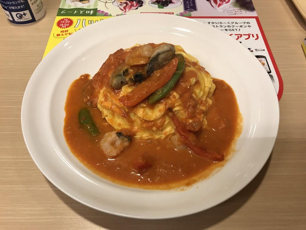 すかいらーく ガスト 牡蠣とエビのトマトクリームオムライス