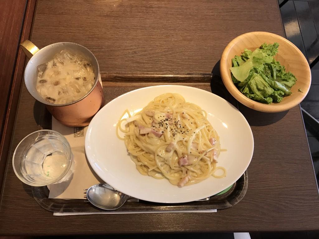 上島珈琲店 カルボナーラ、アイスミルク珈琲黒糖